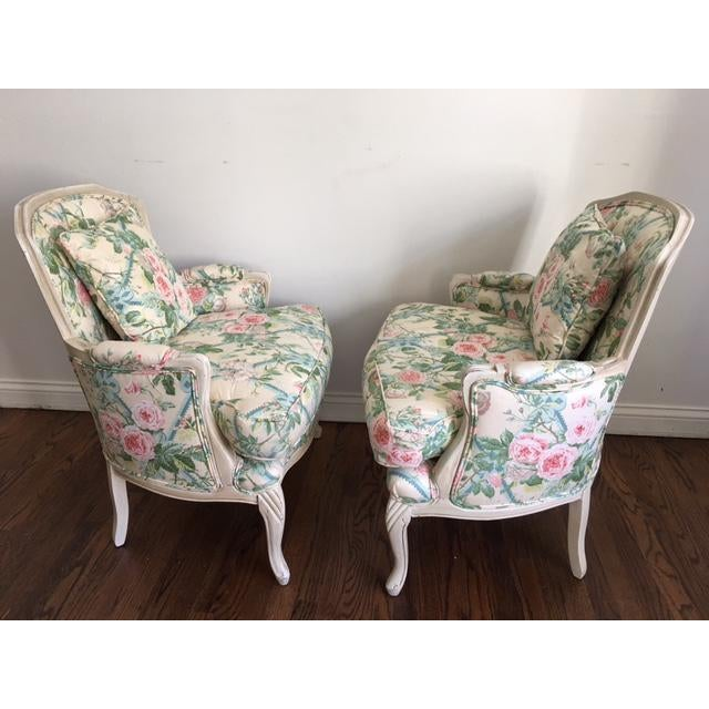 Shabby Chic Floral Bergere Chairs - A Pair - Image 6 of 11