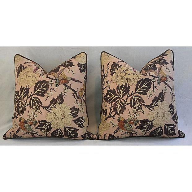 """Custom Chinoiserie Floral & Birds Feather/Down Pillows 26"""" Square - Pair For Sale - Image 4 of 12"""