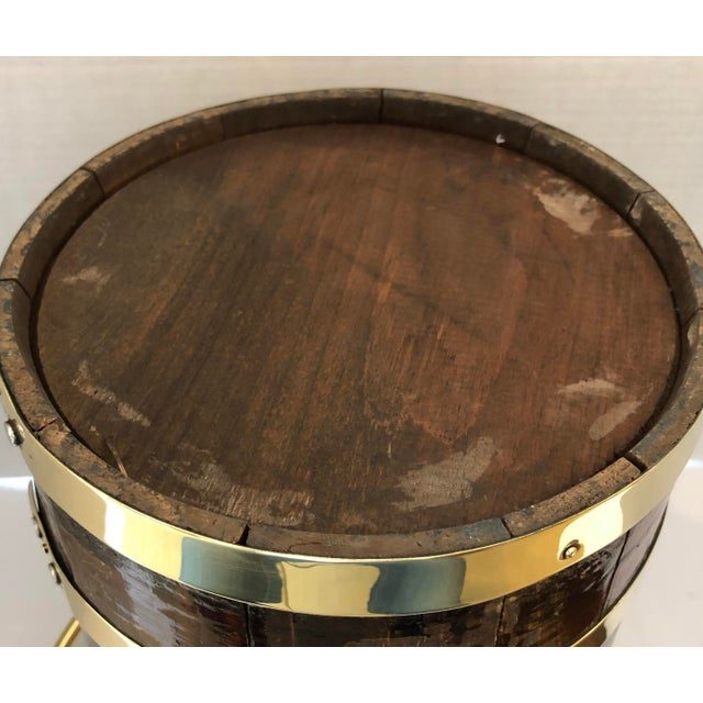 Antique Brass Banded & Wood Lidded Ice Cooler With Initials For Sale - Image 11 of 12