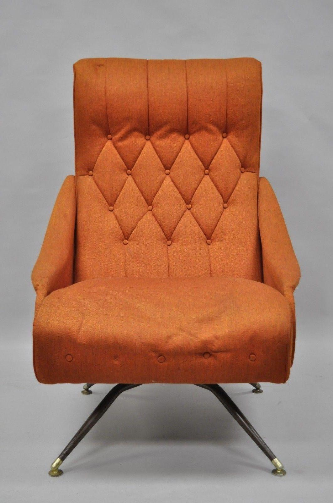 Vintage Mid Century Modern Mak Kraft Of Michigan Orange Fabric Swivel  Lounge Chair   Image 3