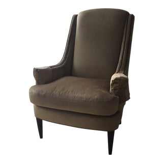 Contemporary. Velvet Wingback Arm Chair by Century. Stanford For Sale