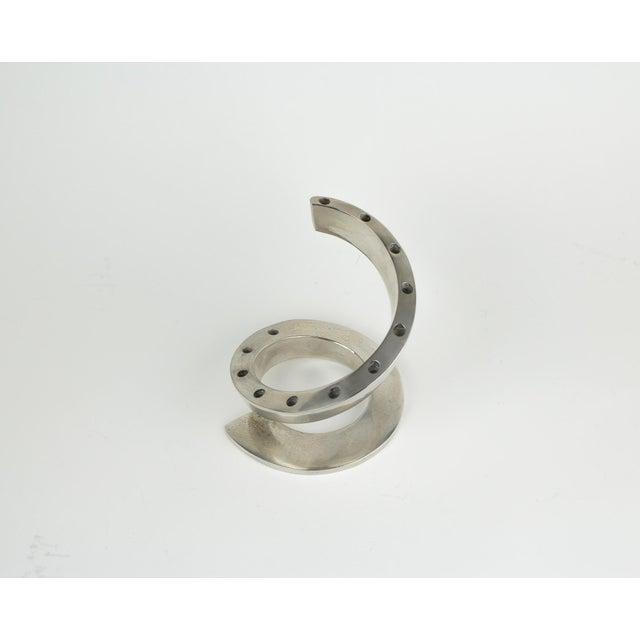 Bertil Vallien 1960s Minimalistic Dansk Silver Spiral Candle Holder For Sale - Image 4 of 11