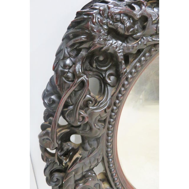 Ebonized Chinese Dragon Carved Oval Mirror - Image 5 of 8