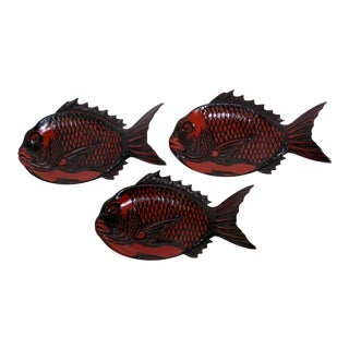 Japanese Lacquered Fish Plates - Set of 3 For Sale