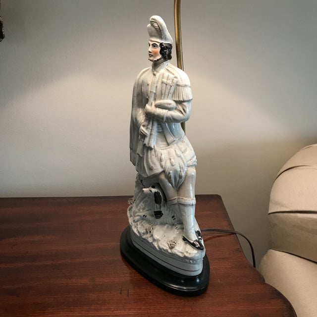 English Antique Staffordshire Figure Bagpiper/Dog Lamp With Shade For Sale - Image 3 of 12
