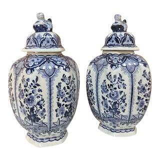 Pair 19th Century Delft Blue & White Lidded Vases For Sale