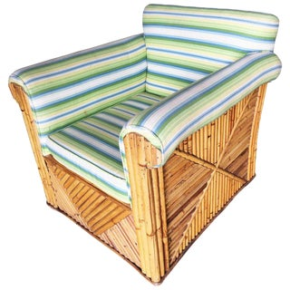 """Restored Large Rattan """"Big Pappa Club"""" Lounge Chair Sale!!! For Sale"""