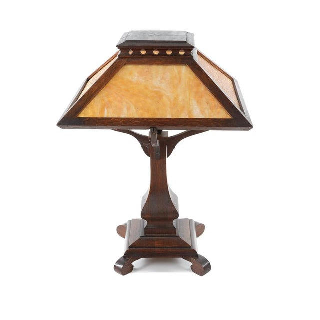Arts & Crafts Original Mission Oak Table Lamp - Image 8 of 8