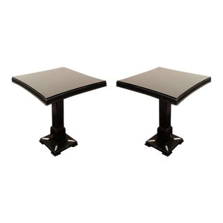 Pair of Occasional Tables in Ebonized Mahogany w/ Pedestal Bases by James Mont For Sale