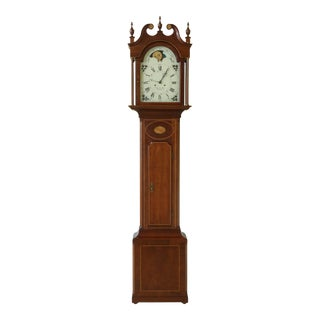 Hamilton Christian Eby Inlaid Cherry Tall Grandfather Clock For Sale