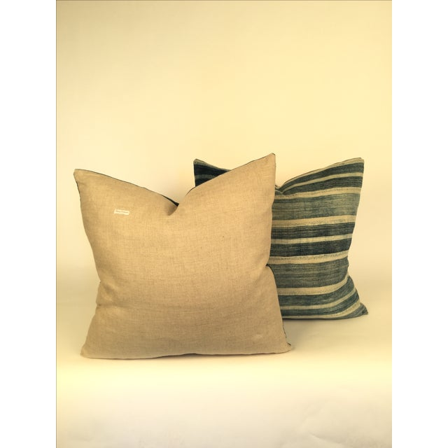 Vintage African Indigo Pillows - a Pair - Image 3 of 4
