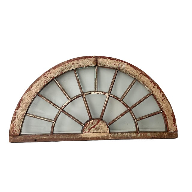 Rustic Half Round Distressed Wood Window For Sale - Image 12 of 12