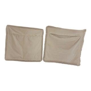 Vintage French White Slips or Shams Lace Edges Euroshams Pillow Cases - Set of 2 For Sale