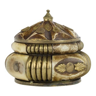 Vintage Brass and Horn Trinket Box For Sale