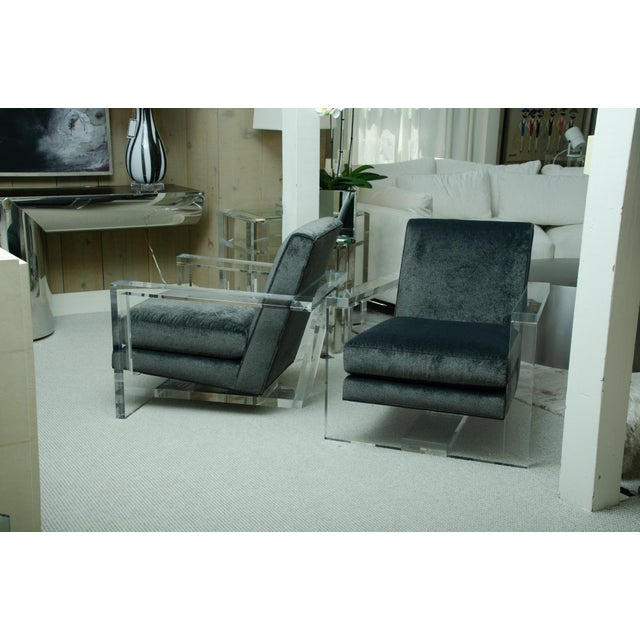 Black Fabulous Pair of Lucite Arm Chairs For Sale - Image 8 of 8