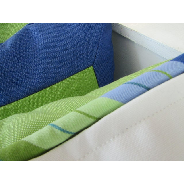 2010s Custom Made Lime and Periwinkle Pillows - Set of 3 For Sale - Image 5 of 7