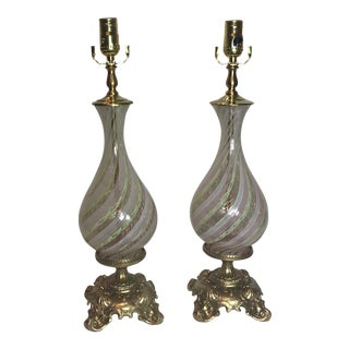 Murano Glass Mounted Dore Bronze Lamps - a Pair