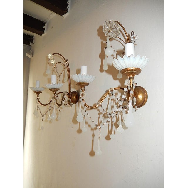 French French White Opaline Beads Beaded Sconces, circa 1920 For Sale - Image 3 of 10