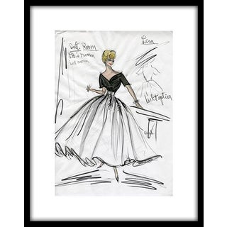 "Reproduction Print of Original Costume Sketch by Edith Head of Grace Kelly for ""Rear Window"" (1954)"