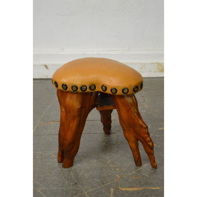 Cypress Tree Root Leather Seat Small Stool For Sale - Image 4 of 10