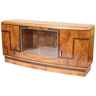Circa 1930s Art Deco Burl Walnut Sideboard
