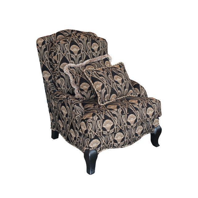 Custom Pearson Black Cream Floral Chair & Ottoman - Image 1 of 7