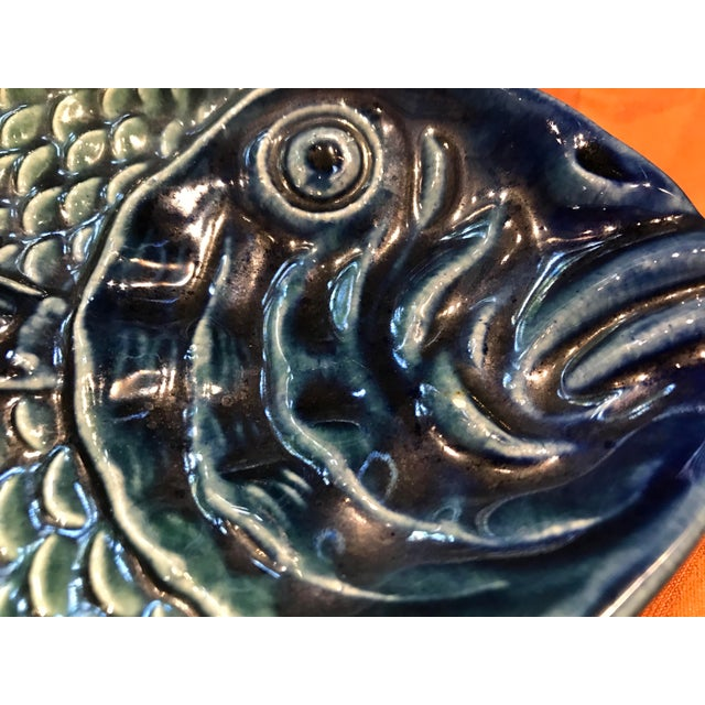 Ceramic Vintage Olfaire Majolica Ceramic Fish Serving Dishes - Set of 5 For Sale - Image 7 of 11