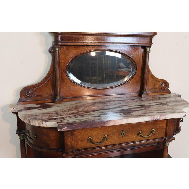 20th Century Italian Empire Style Oak Console Table With Columns and Marble Top For Sale - Image 11 of 12