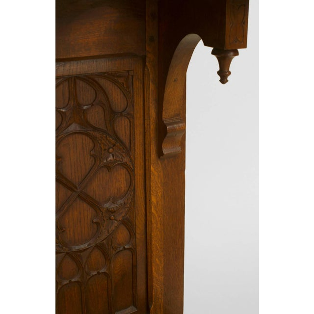 Gothic Turn of the Century English Gothic Carved Oak Umbrella Stand For Sale - Image 3 of 4