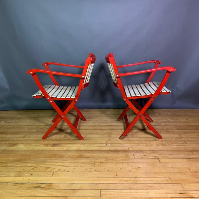 Fratelli Reguitti 1960s Vintage Fratelli Reguitti Lacquered Folding Chairs- a Pair For Sale - Image 4 of 13