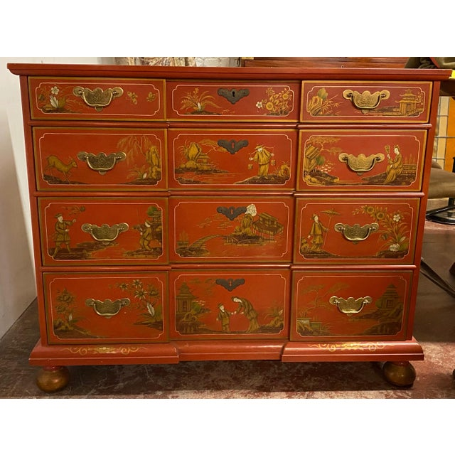 Chinese Red Chinoiserie Chest of Drawers by Baker Furniture C.1970s For Sale - Image 11 of 11