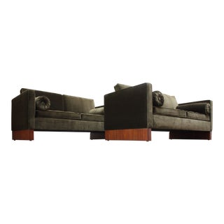 Mies Van Der Rohe Settee in Velvet and Teak For Sale
