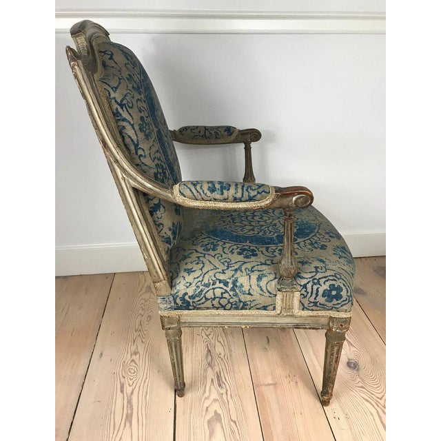 18th Century Louis XVI Bergere Chair With Fortuny Upholstery - Image 3 of 8