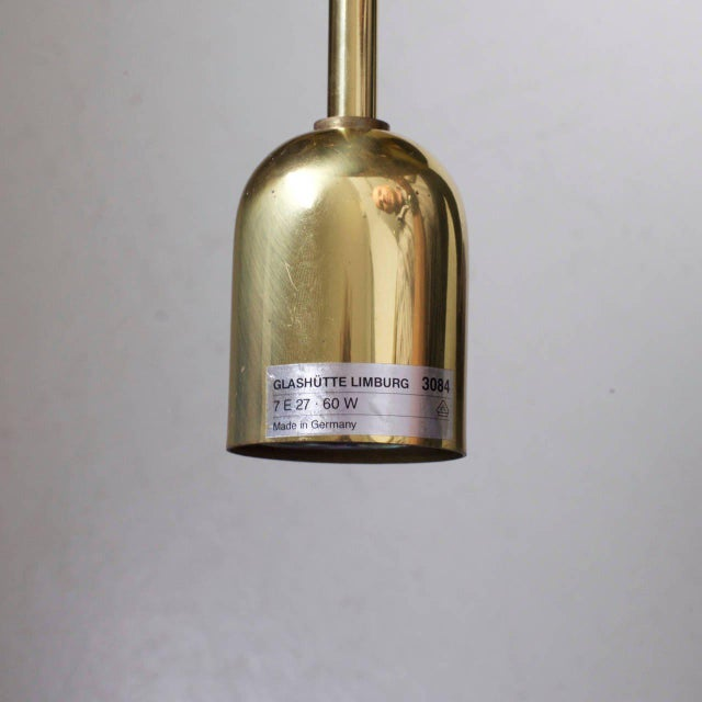 Brass Glass and Brass Three-Tier Chandelier by Glashütte Limburg, Venini Style For Sale - Image 7 of 8