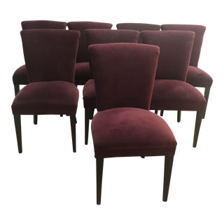 Crate & Barrel Velvet Upholstered Dining Chairs - Set of 8 For Sale