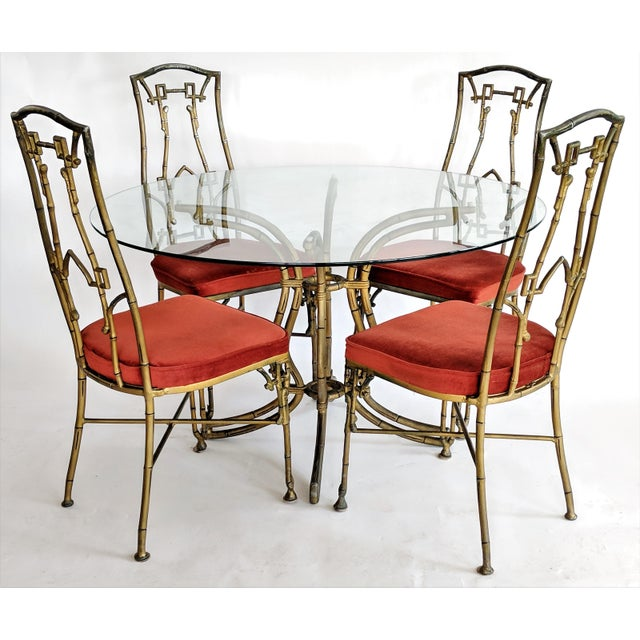 Asian Kessler Industries Mid-Century Modern Cast Aluminum Faux Bamboo Dining Set For Sale - Image 3 of 11