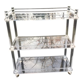 1970s Contemporray Lucite Tall Rolling Bar Cart For Sale