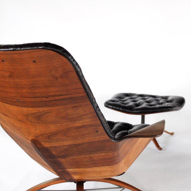 Plycraft 1960s Vintage 1st Edition Mr Chair by George Mulhauser for Plycraft Leather Lounge Chair For Sale - Image 4 of 12