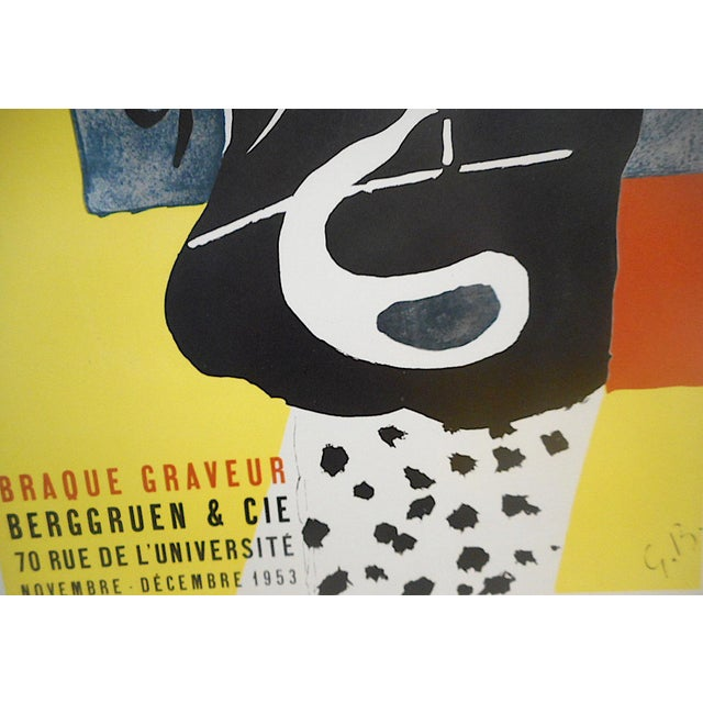1950s Vintage Mid 20th Century Modern Poster-Georges Braque 1953 For Sale - Image 5 of 7
