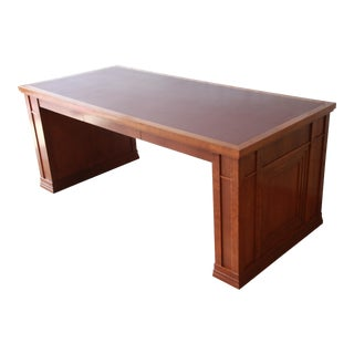 Dunbar Cherry Wood Leather Top Desk or Library Table For Sale