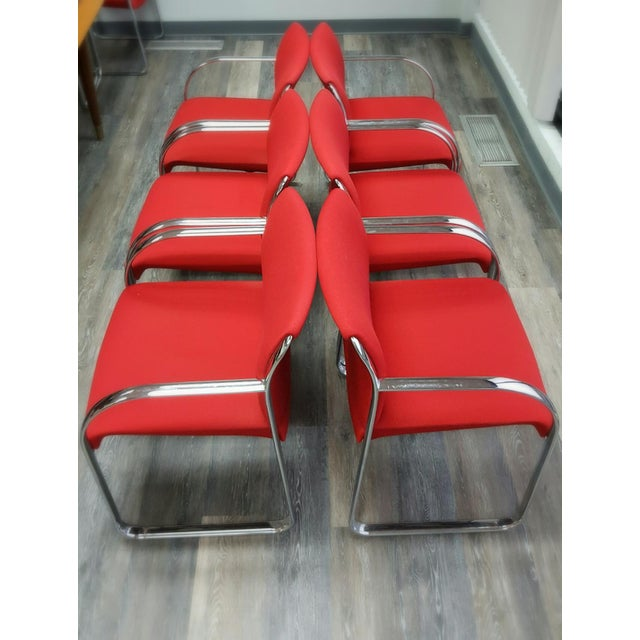 Curvilinear Chrome Chairs - Set of 6 - Image 2 of 9
