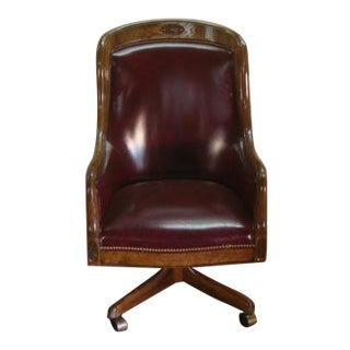 1980s Vintage Alex Stuart Oak Framed Leather Desk Chair For Sale
