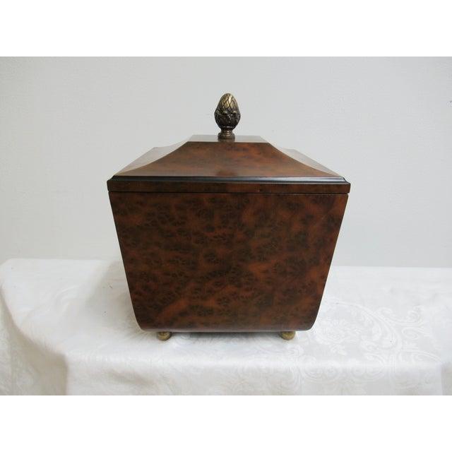 Modern Decorative Crafts Burlwood Tea Box For Sale - Image 13 of 13