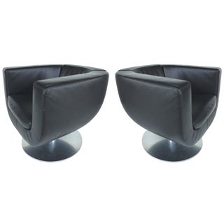 Early 21st Century Jeffery Bernett B&b Italia Leather Tulip Swivel Chairs- A Pair For Sale