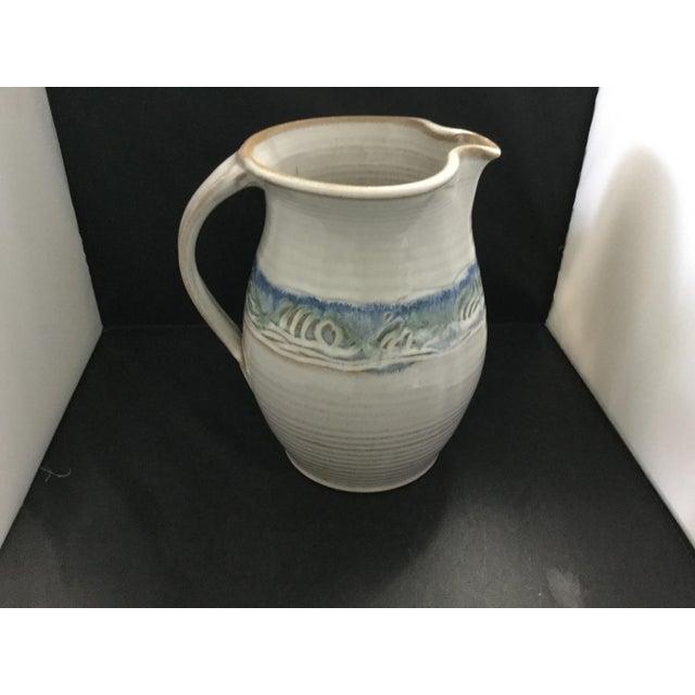 2000 - 2009 Ceramic White and Blue Potter J. Preston Pitcher For Sale - Image 5 of 7