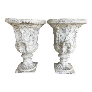 Vintage English Terra-Cotta Urns - a Pair For Sale