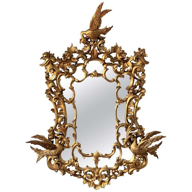 Gold 20th Italian Giltwood Carved Eagles Mirror For Sale - Image 8 of 8