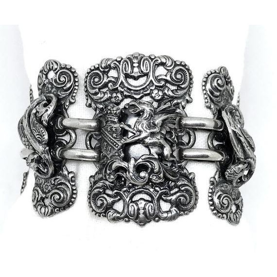Napier Napier Silvertone Griffon Bracelet For Sale - Image 4 of 4