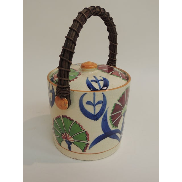 Boho Chic Vintage Floral Hand-Painted Ice Bucket For Sale - Image 3 of 5