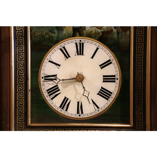 Black 19th Century French Napoleon III Hand-Painted Wall Clock With Hunt Scene For Sale - Image 8 of 13